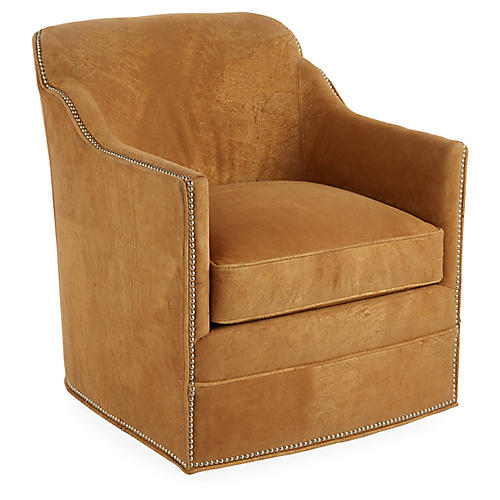 Hughes Swivel Chair, Camel Suede