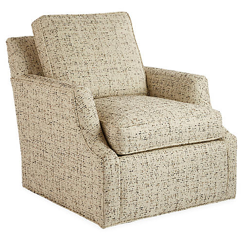 Chase Swivel Chair, Cream/Multi