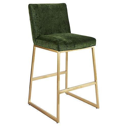 Hollas Barstool, Emerald/Brass
