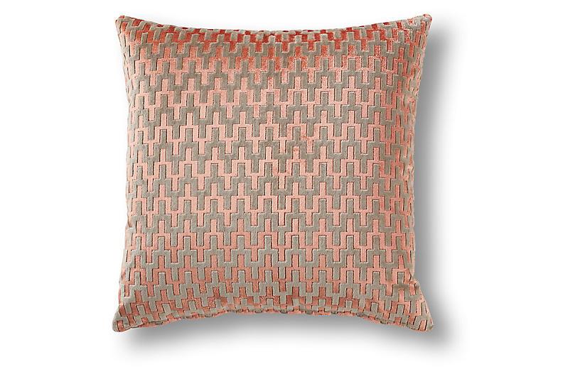 Blaine 19x19 Pillow, Rose Gold Velvet
