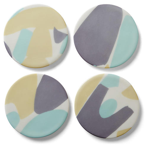 Asst. of 4 Abstract Coasters, Gray/Multi