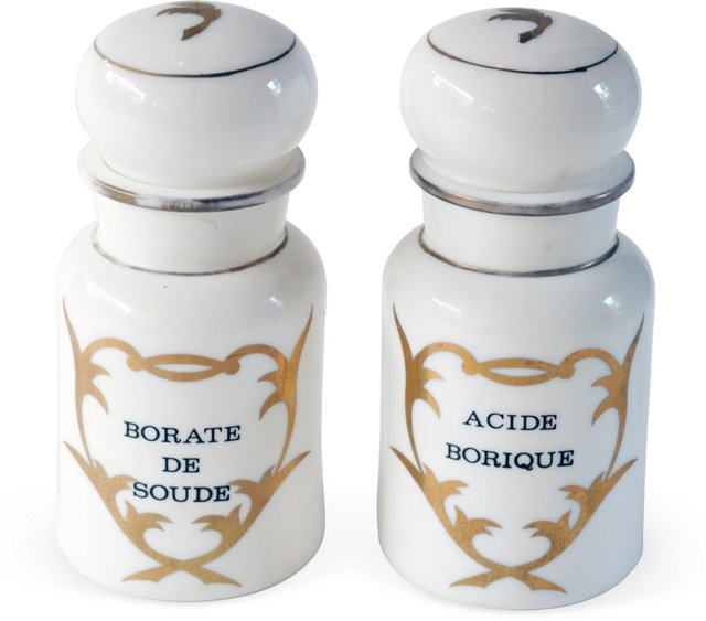 White & Gold French Canisters, Pair
