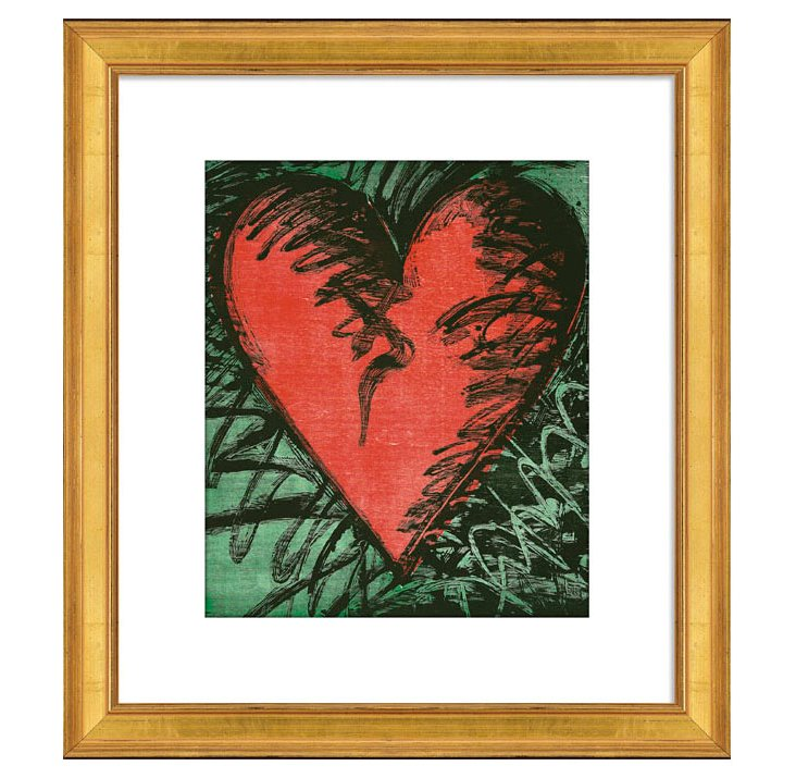 Dine, Rancho Woodcut Heart (serigraph)