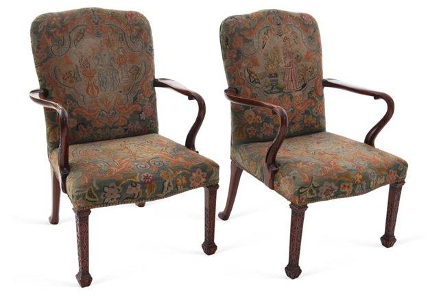 George II Open Armchairs, Pair
