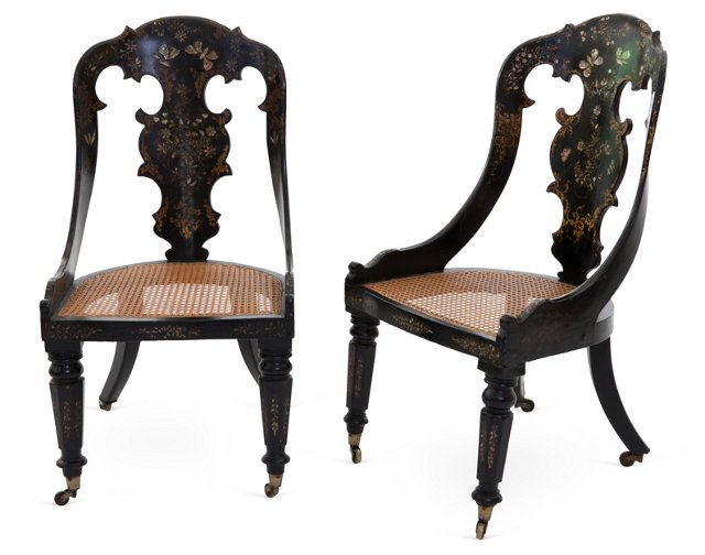 Victorian Rococo Revival Chairs, Pair