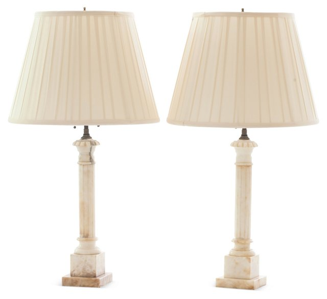 Marble Lamps, Pair