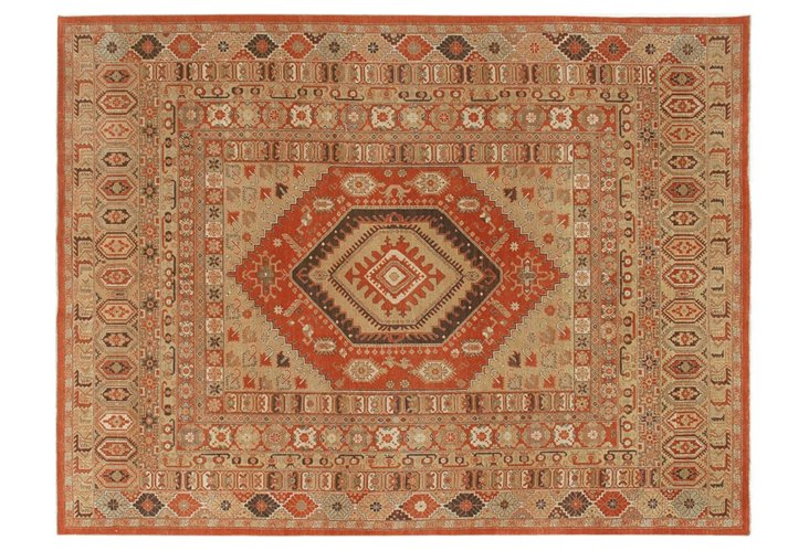 "9'2""x12'3"" Tribal Rug, Beige/Rust"