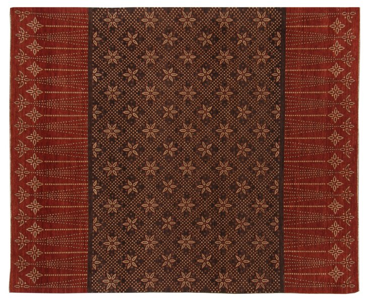 "8'3""x10'2"" Natural Dye Rug, Red/Brown"