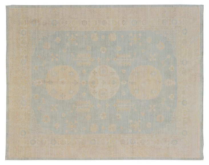 "9'4""x11'10"" Khotan Rug, Cream/Pale Blue"