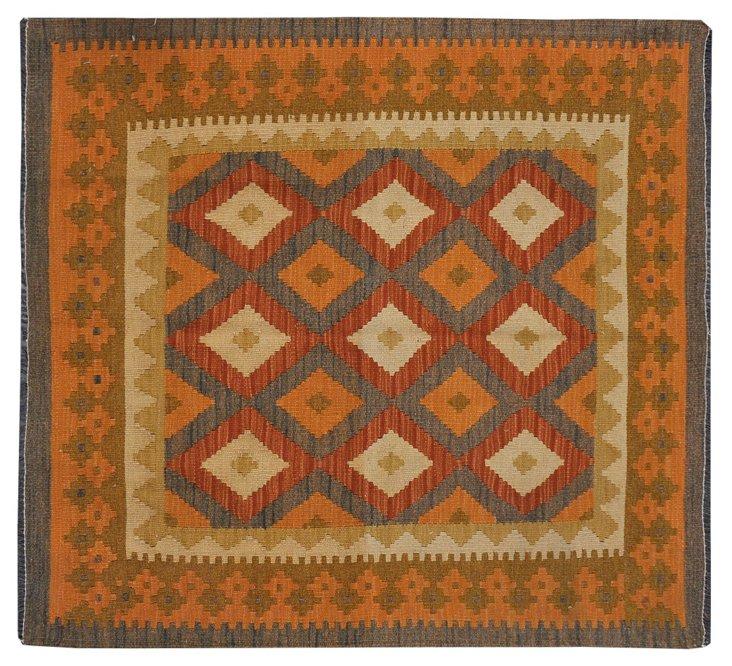"""3'6""""x3'9"""" Natural Dye Kilim Rug, Orange"""