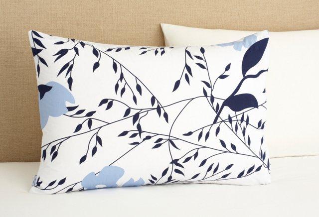 Apple Blossom Pillowcase, Blue/Navy
