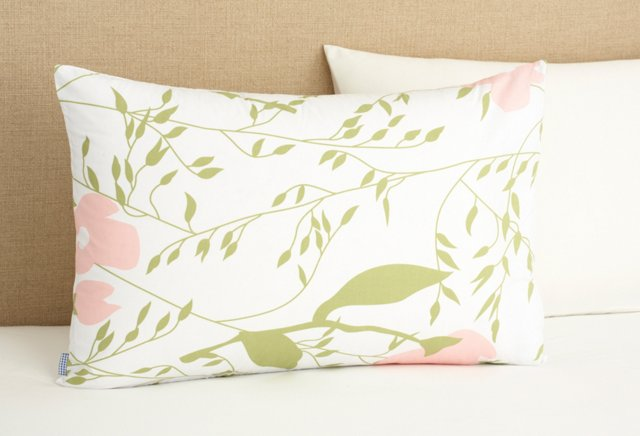 Apple Blossom Pillowcase, Pink/Green