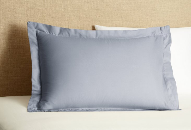 Std Mono Flap Pillowcase, Blue Oxford