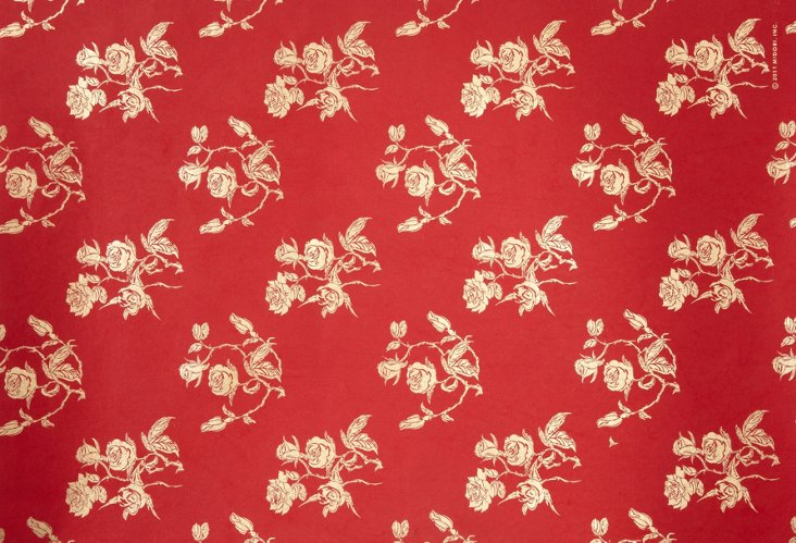S/10 Handmade Rose Gift Wrap, Red