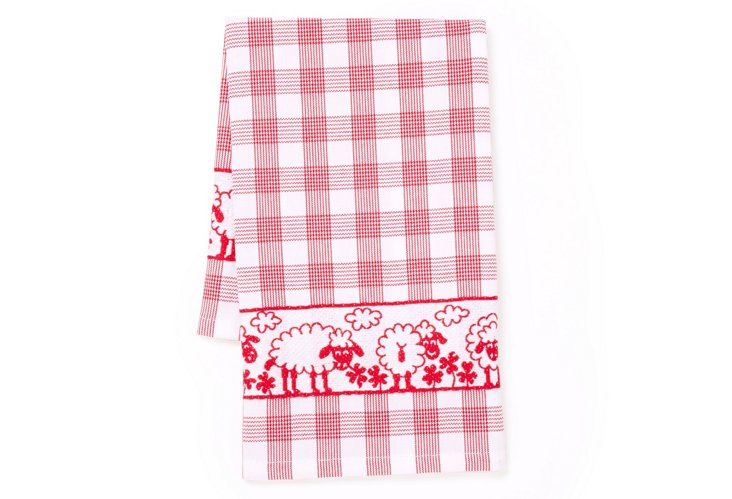 Sheep Tea Towel, Red