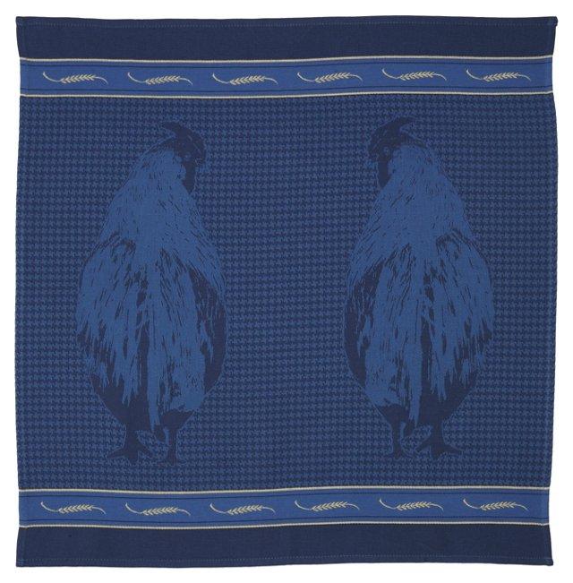 Rooster Tea Towel, Blue