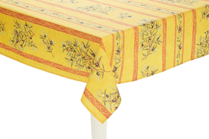 Provence Olives Tablecloth, Yellow