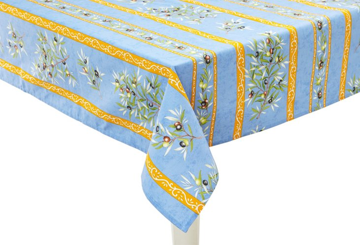 Provence Olives Tablecloth, Blue