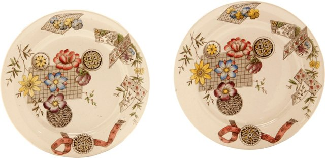 Edwardian Ironstone Plates, Pair
