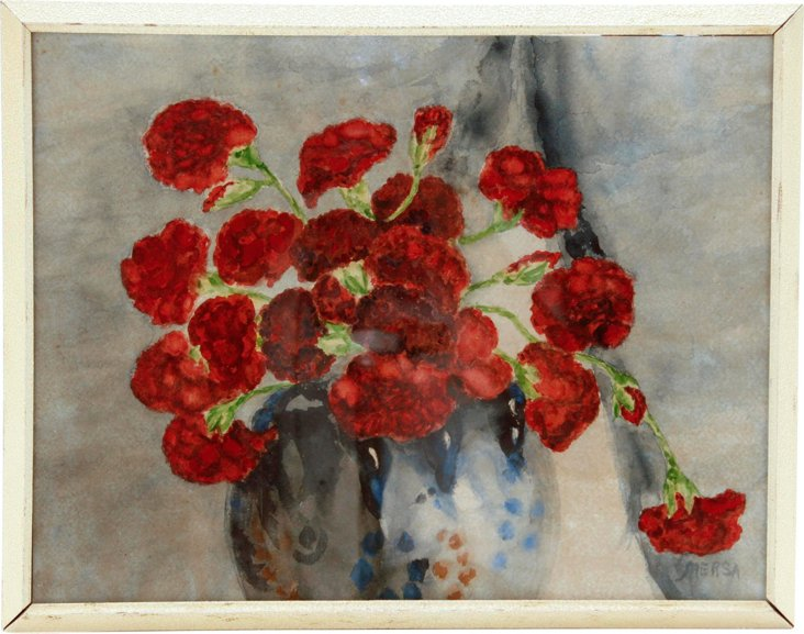 1950s Watercolor, Red Carnations