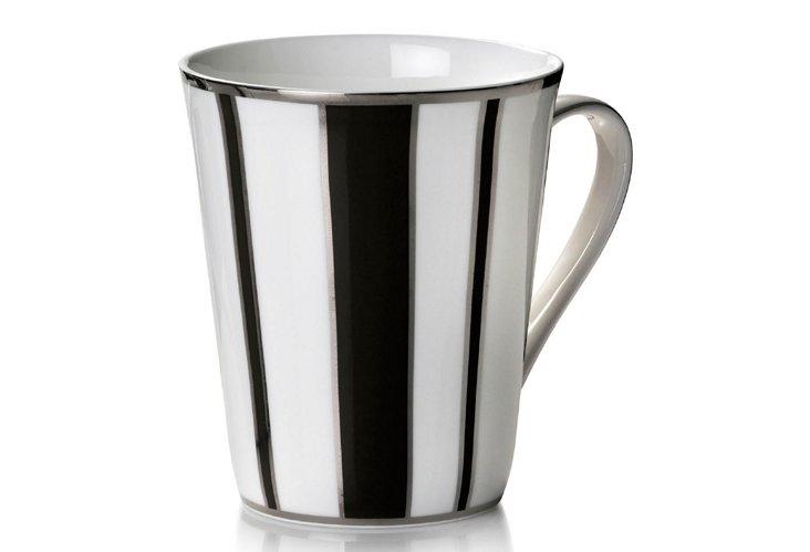 S/4 Striped Mugs, Black/Silver