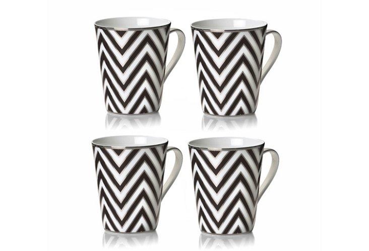 S/4 Zigzag Mugs, Black/White