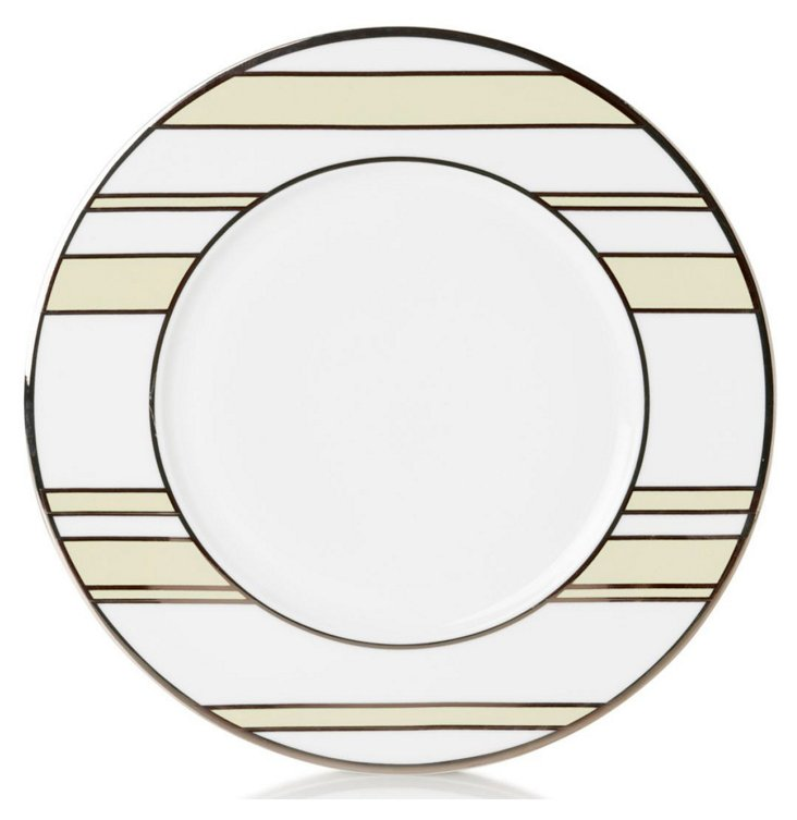 S/4 Striped Accent Plates, Ivory