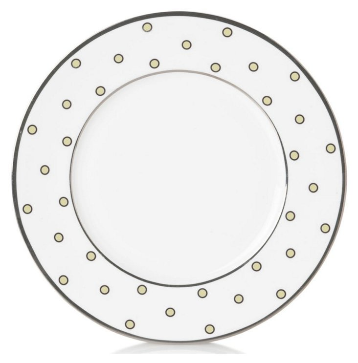 S/4 Dots Accent Plates, Ivory