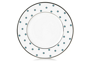 S/4 Dots Accent Plates, Lt Blue/White