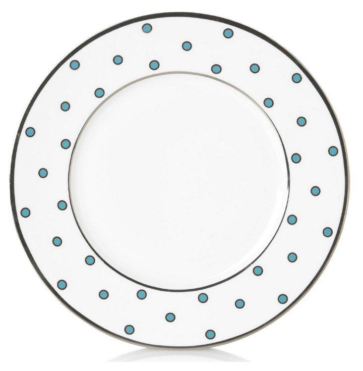 S/4 Dots Accent Plates, Light Blue
