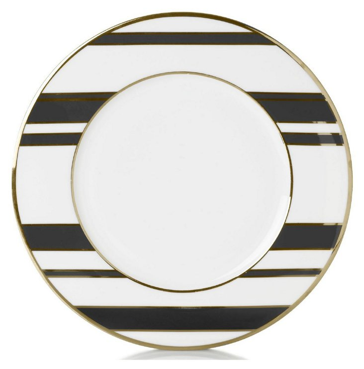 S/4 Striped Accent Plates, Black/Gold