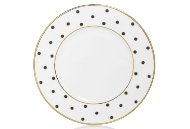 S/4 Dots Accent Plates, Blue/Gold