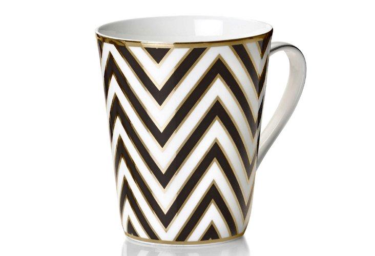S/4 Zigzag Mugs, Black/Gold