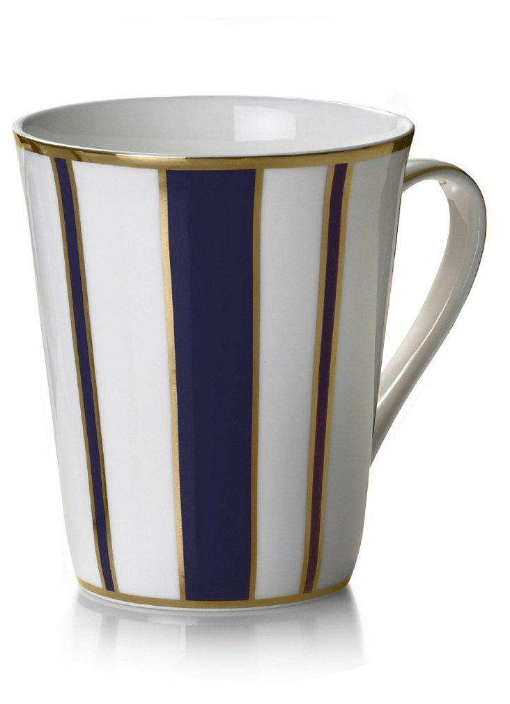 S/4 Striped Mugs, Blue/Gold