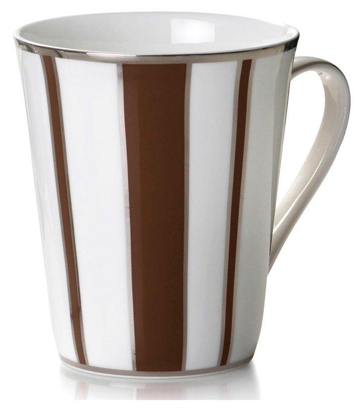 S/4 Striped Mugs, Brown/Silver