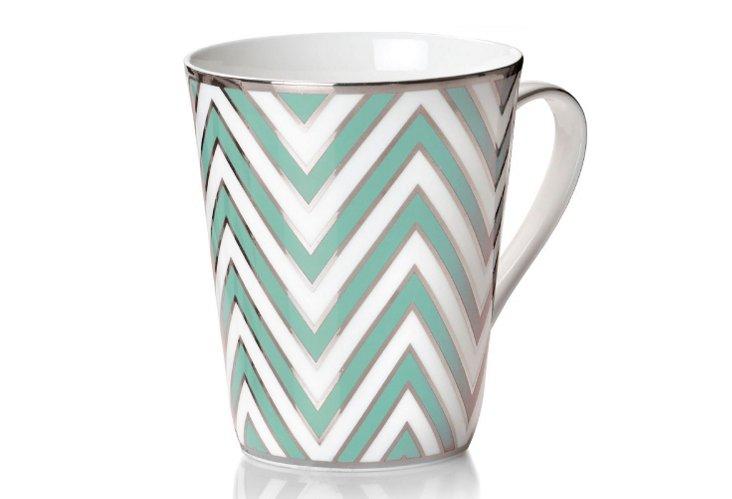 S/4 Zigzag Mugs, Turq/Silver