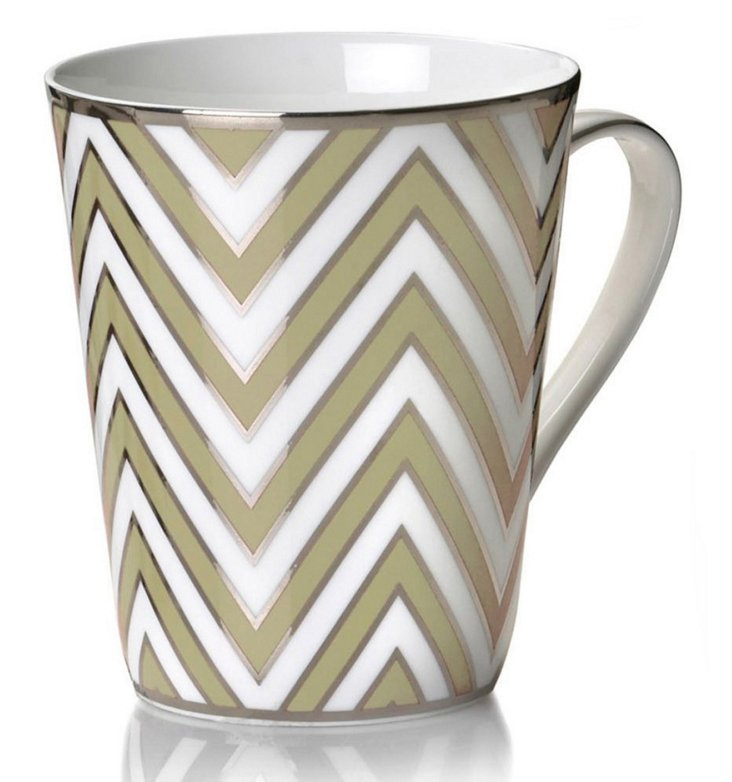 S/4 Zigzag Mugs, Ivory