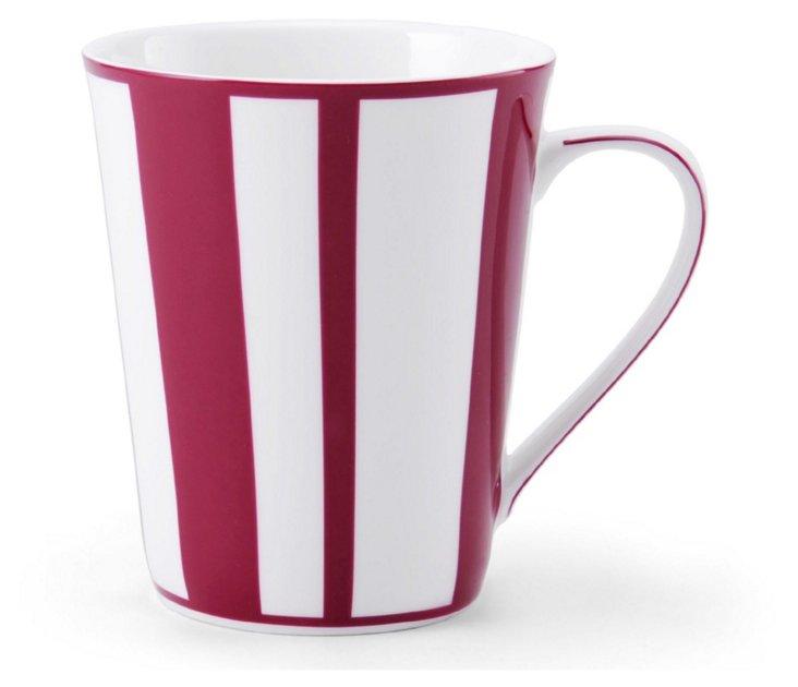 S/4 Striped Mugs, Fuchsia