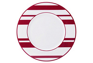 S/4 Striped Accent Plates, Fuchsia/White