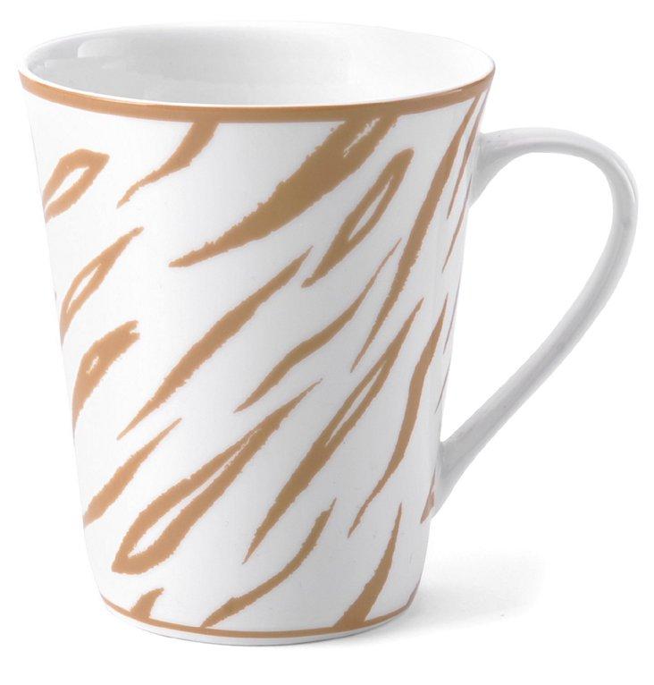 S/4 Tiger Print Mugs, Khaki