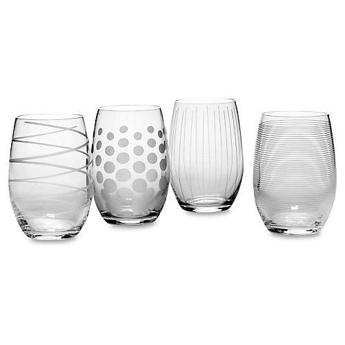 S/4 Mikasa Cheers Stemless Wineglasses