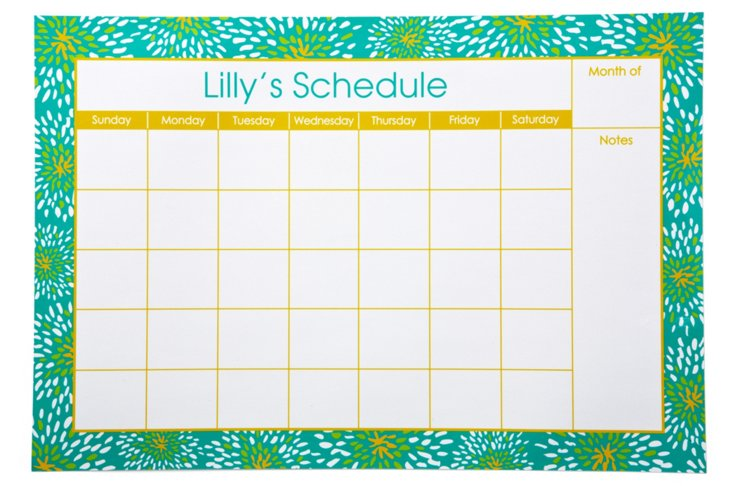 Dry Erase Wall Calendar, Bloom Aqua