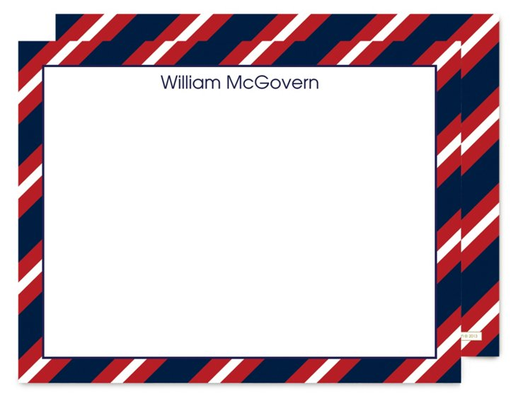 S/25 Flat Note Cards, Red/Blue
