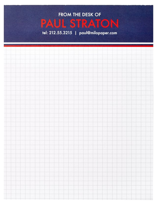 Custom Graph  Letter Sized Pad,  Navy