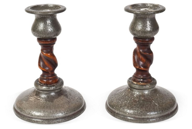 English Barley-Twist Candlesticks, Pair
