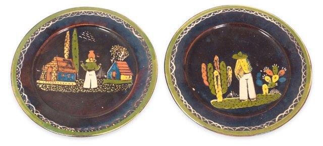 Mexican Tlaquepaque Plates, Pair