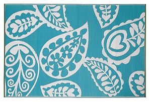 Paisley Outdoor Rug, Turquoise/White