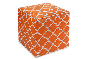 Tangier Plastic Outdoor Cube, Carrot