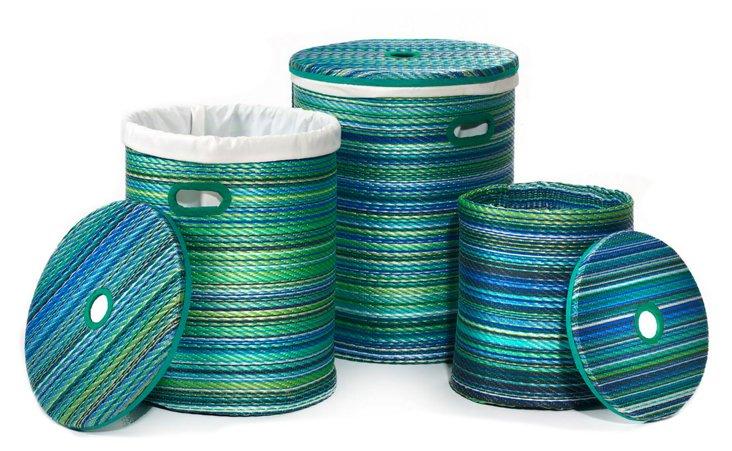 S/3 Asst. Cancun Baskets, Turquoise