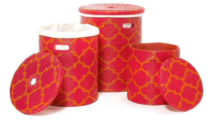 Asst. of 3 Tangier Baskets, Red